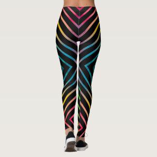 Colorful watercolor striped geometric leggings
