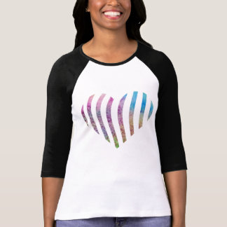 Colorful watercolor striped heart T-Shirt