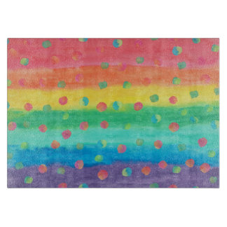 Colorful Watercolor Stripes and Spots Cutting Board