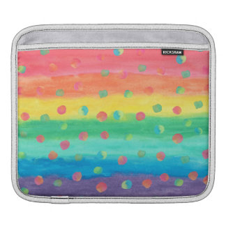 Colorful Watercolor Stripes and Spots iPad Sleeves