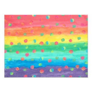 Colorful Watercolor Stripes and Spots Photographic Print