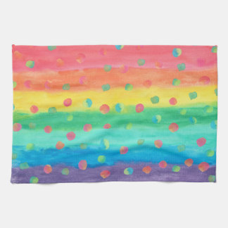 Colorful Watercolor Stripes and Spots Tea Towel