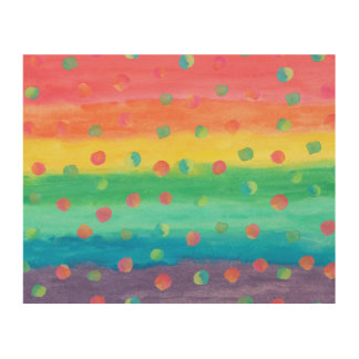 Colorful Watercolor Stripes and Spots Wood Canvases