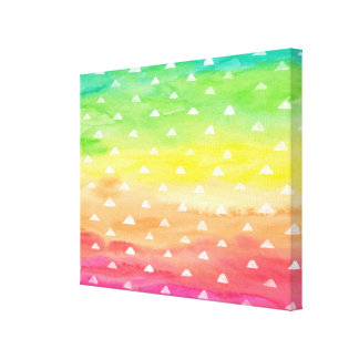 Colorful Watercolor Stripes White Triangles Canvas Print