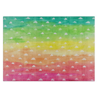 Colorful Watercolor Stripes White Triangles Cutting Board