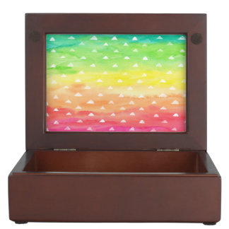 Colorful Watercolor Stripes White Triangles Keepsake Box