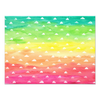 Colorful Watercolor Stripes White Triangles Photographic Print