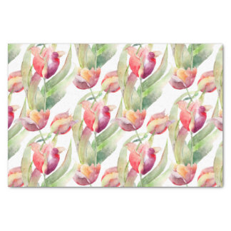 Colorful Watercolor Tulips Pattern Tissue Paper