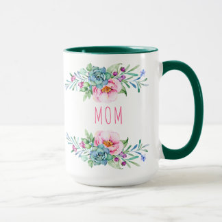 Colorful Watercolors Flowers Bouquet Mom Text Mug