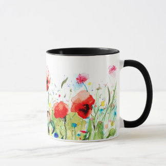 Colorful Watercolors Flowers & Red Poppies Mug