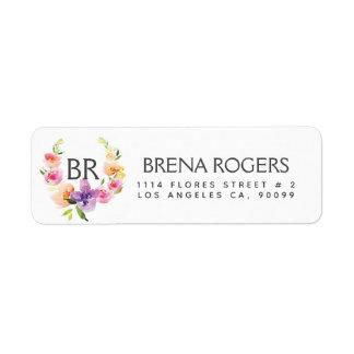 Colorful Watercolors Flowers Wreath Monogram Return Address Label