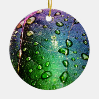 Colorful Waterdrops on Leaf Christmas Tree Ornament