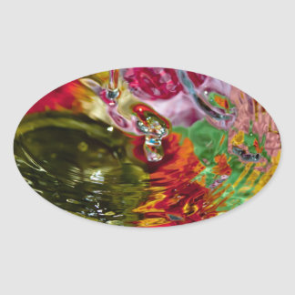 Colorful Waters Abstract Photography Oval Sticker