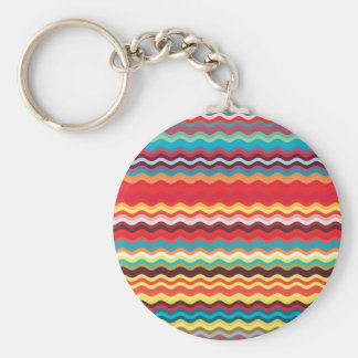 Colorful Wave Zig Zag Pattern Basic Round Button Key Ring