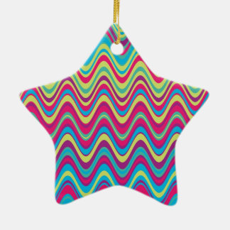 Colorful Wave Zig Zag Pattern Ceramic Star Decoration