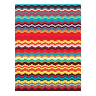 Colorful Wave Zig Zag Pattern Post Card