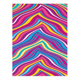 Colorful Wave Zig Zag Pattern Postcard