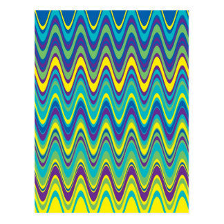 Colorful Wave Zig Zag Pattern Postcards