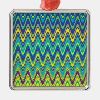 Colorful Wave Zig Zag Pattern Silver-Colored Square Decoration
