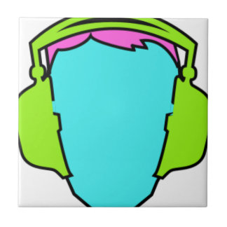 Colorful Wearing Headphones Ceramic Tile