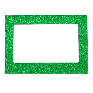 Colorful Wedding Anniversary Green Glitter Magnetic Picture Frame