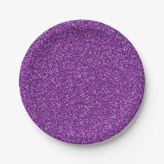 Colorful Wedding Anniversary Purple Glitter 7 Inch Paper Plate