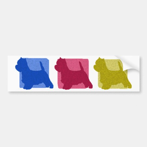 Colorful West Highland White Terrier Silhouettes Bumper Stickers