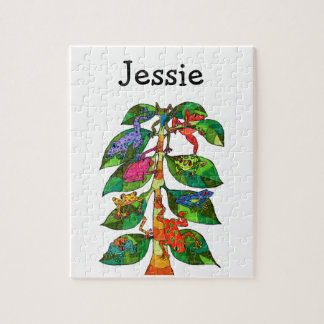 Colorful Whimsical Cute Tree Frogs Monogram Name Jigsaw Puzzle