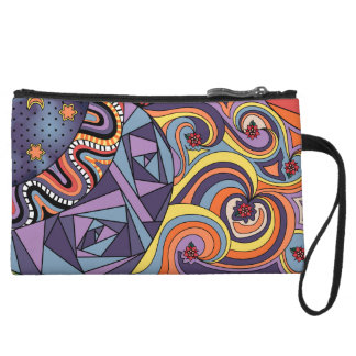 Colorful Whimsical Doodle Abstract Pattern Wristlets