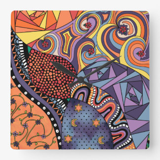 Colorful Whimsical Doodle Abstract Pattern Clock