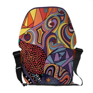 Colorful Whimsical Doodle Abstract Pattern Courier Bags