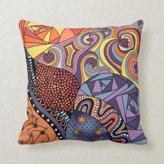 Colorful Whimsical Doodle Abstract Pattern Pillows