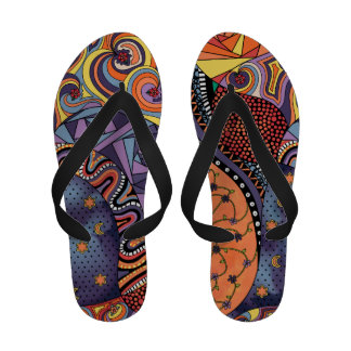 Colorful Whimsical Doodle Abstract Pattern Flip-Flops