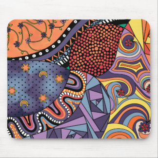 Colorful Whimsical Doodle Abstract Pattern Mouse Pad