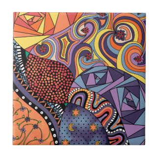 Colorful Whimsical Doodle Abstract Pattern Small Square Tile