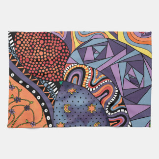 Colorful Whimsical Doodle Abstract Pattern Towels