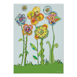 Colorful Whimsical Flowers Artwork Poster