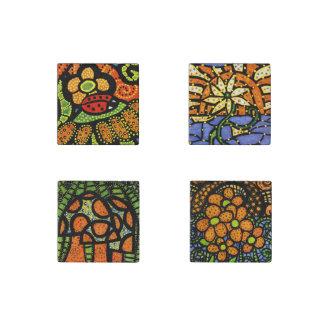 Colorful Whimsical Ladybug Mushroom Flowers Stone Magnet