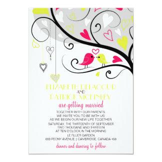 Colorful Whimsical Love Birds Wedding Invitation