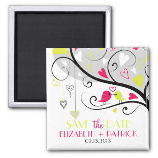 Colorful Whimsical Lovebirds Save the Date Magnet