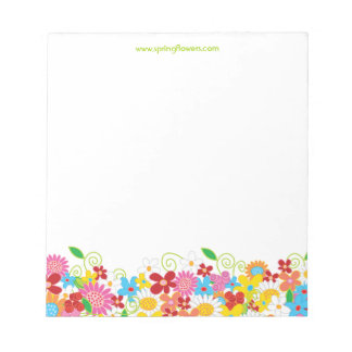 Colorful Whimsical Spring Flowers Garden Notepad