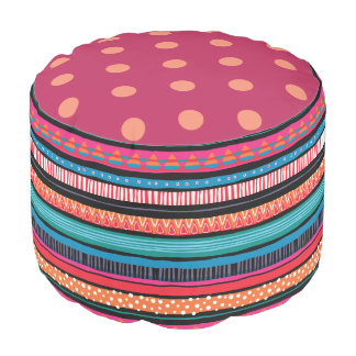 Colorful Whimsical Stripe Pouf Dot Contrast Print