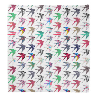 Colorful whimsical  swallow birds pattern bandana