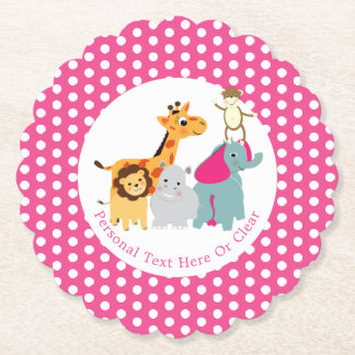 Colorful Whimsy Zoo Animals Personalized Paper Coaster