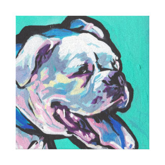 Colorful White Boxer Portrait  Fun Pop Art Canvas Print