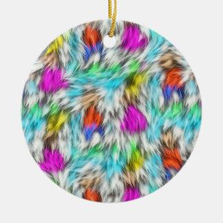 Colorful White Leopard Fur Pattern Ceramic Ornament