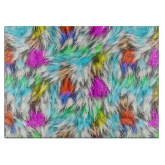 Colorful White Leopard Fur Pattern Cutting Board