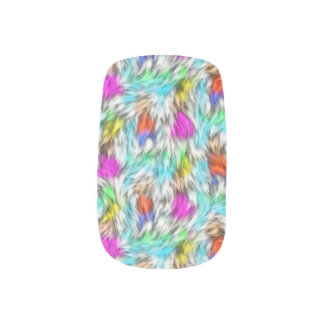 Colorful White Leopard Fur Pattern Minx Nail Art