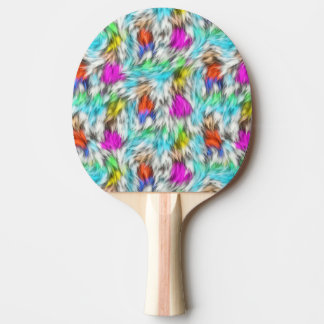 Colorful White Leopard Fur Pattern Ping Pong Paddle