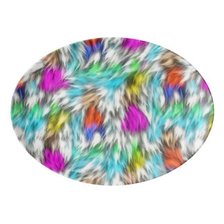 Colorful White Leopard Fur Pattern Porcelain Serving Platter